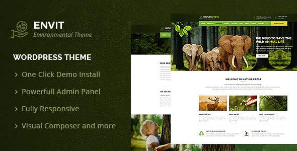 Envit – An Environmental WordPress theme            TFx Wystan Lake