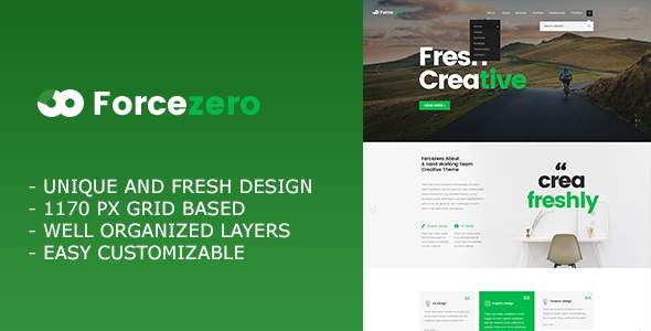 Forcezero – Onepage Creative Portfolio PSD Template            TFx Trenton Franklyn