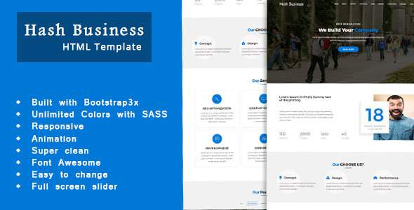 Hash Business  – One Page Corporate and Business Template            TFx Alfie Royston