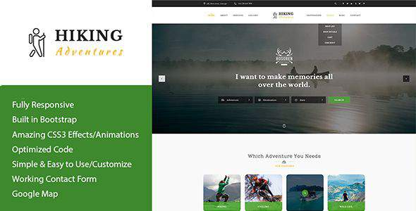 Hiking Adventures – Outdoors & Hiking HTML Template            TFx Terry Hideaki