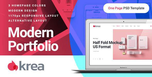 Krea – Modern Portfolio One Page PSD Web Template            TFx Quidel Phoenix