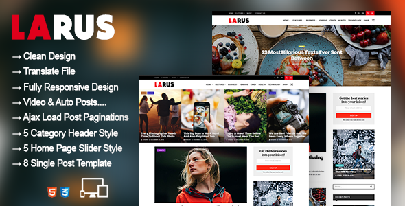 Larus - WordPress Blog Magazine Theme            TFx Channing Colin