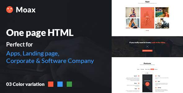 Moax - One Page Multipurpose HTML Landing page (App, Software & Others)            TFx Esmond Rodolph