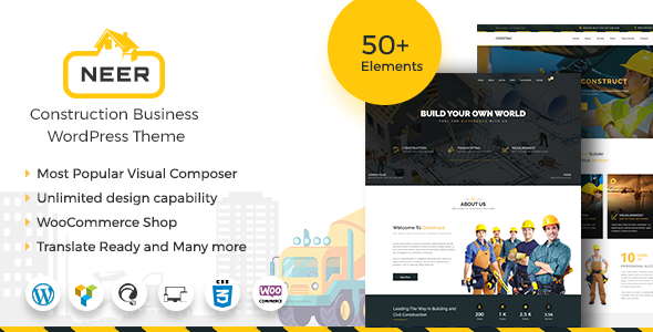 Neer - Construction Business WordPress Theme            TFx Azat Jirou