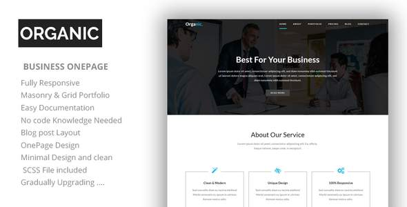 Organic - One Page Parallax HTML Template            TFx Emory Elliot