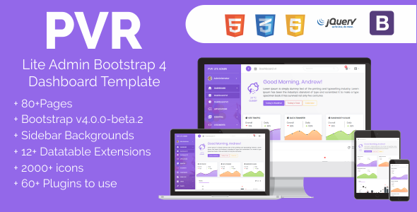 PVR - Lite Admin Bootstrap 4 Dashboard Template            TFx Vardan Carlisle