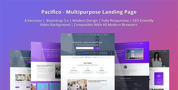 Pacifico - Multipurpose HTML Landing Page Template            TFx Darcy Armen