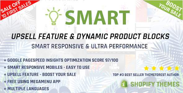 Smart - Multipurpose Shopify section - Upsell feature - Pagespeed Insights Optimization 97/100            TFx Ronnie Garret