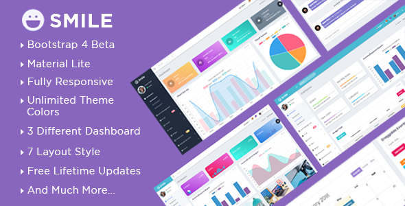 Smile - Bootstrap 4 Admin Dashboard Template + UI Kit            TFx Avag Arnie