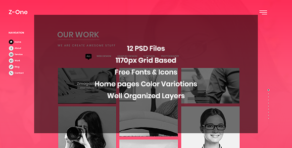Z-One - Portfolio Fullpage PSD Template            TFx Guntur Arron