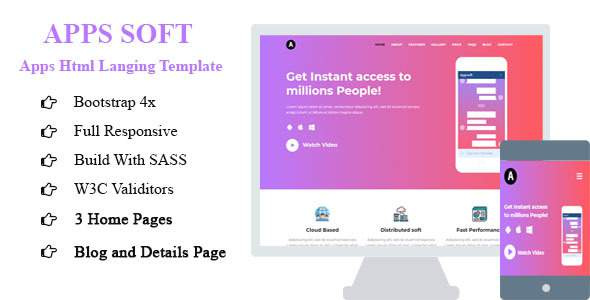 Apps Soft – Apps saas HTML Landing Template            TFx Cyrus Andre
