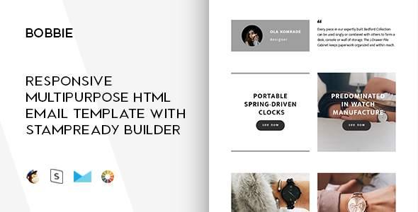 Bobbie – Responsive Email + StampReady Builder & Mailchimp Editor            TFx Hibiki Deforrest