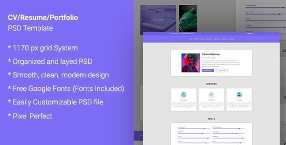 CV  /RESUME / Portfolio PSD Template            TFx Dennis Gladwyn