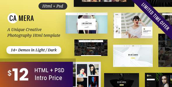 Camera - Photography HTML Template for Photographer            TFx Kichiro Carver