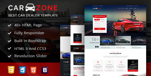 CarZone - A Complete Car Portal Website Html Wire-Frame            TFx Shelly Blaze