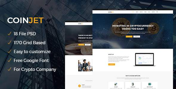 CoinJet | Bitcoin & Crypto Currency Psd Template            TFx Tri Shel