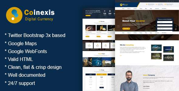 Coinexis - Cryptocurrency Marketing and Trading Site Template            TFx Grier Justy