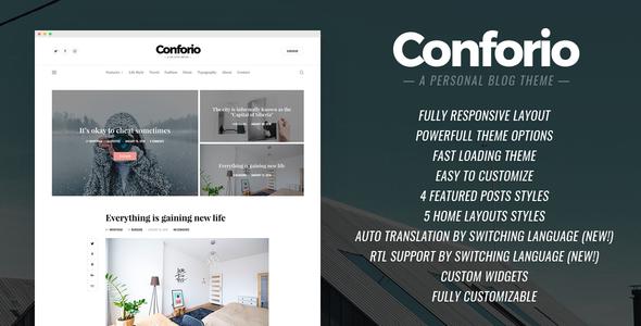 Conforio - A Personal Blogger Blog Theme            TFx Kory Corbin