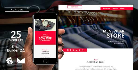 Contour Responsive Email Template + Online Emailbuilder 2.1            TFx Garland Timour