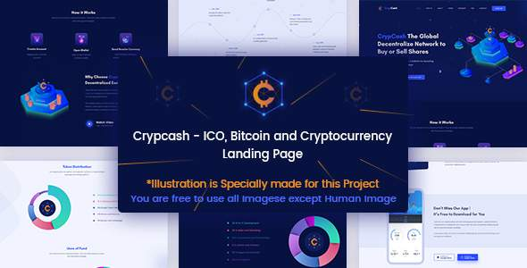 Crypcash - ICO, Bitcoin and Cryptocurrency Landing Page            TFx Roswell Gord