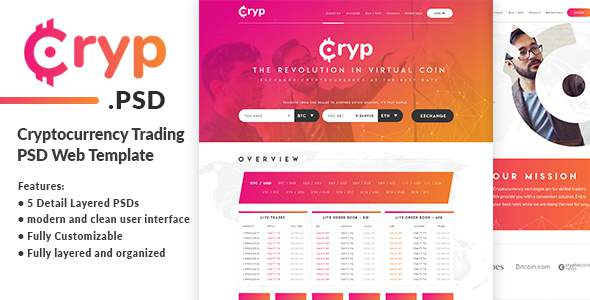 Cryptocurrency Trading PSD Web Template            TFx Benson Micky