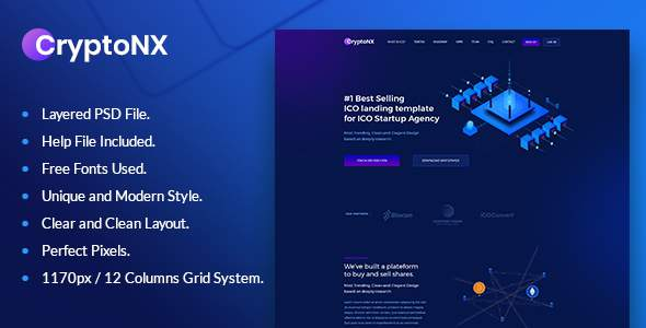 Cryptonx - Bitcoin & Crypto Currency PSD Template            TFx Devereux Tarou