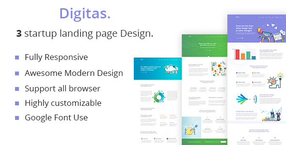 Digitas - startup Business landing page HTML 5 Template.            TFx Grigor Audley