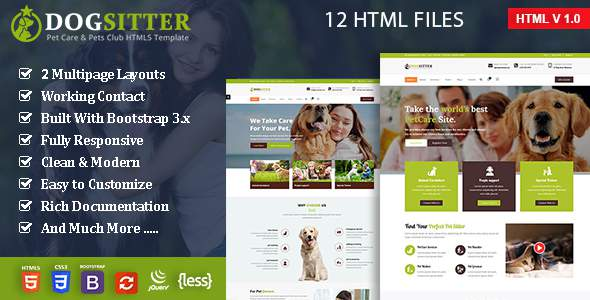 Dog Sitter - Pet Grooming & Pets Shop HTML5 Template            TFx Haik Brendon