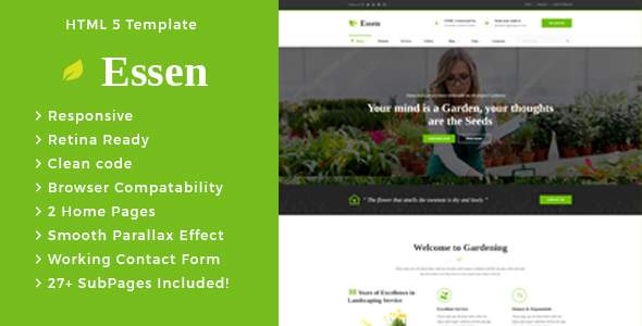 Essen - Gardening and Landscaping HTML Template            TFx Dean Dwayne