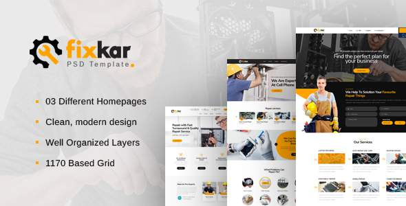 FixKar - A PSD Template for Services and Repairing Business            TFx Daisuke Braidy