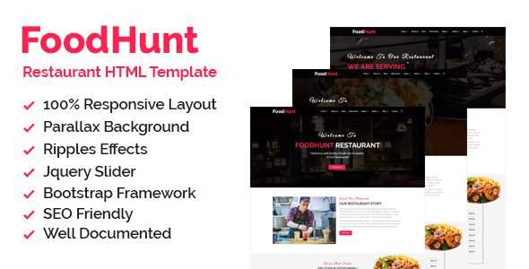 Foodhunt - Restaurant HTML Responsive Template            TFx Grayson Balam