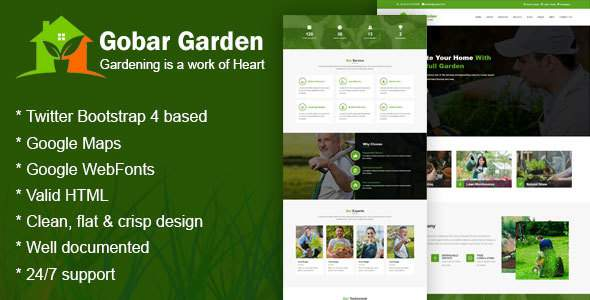 Gobar Garden - Gardening and Landscaping Responsive HTML5 Template            TFx Garrett Youta