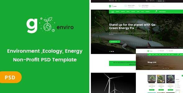 Goenviro - Environmental ,Energy, Non-Profit PSD Template            TFx Mitch Mahatma