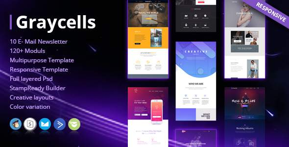Graycells - Email v7 | 10 Multipurpose Responsive Template            TFx Weldon Innocent