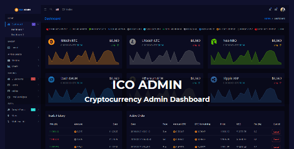 ICO Admin - Cryptocurrency Dashboard UI Kit            TFx Logan Presley