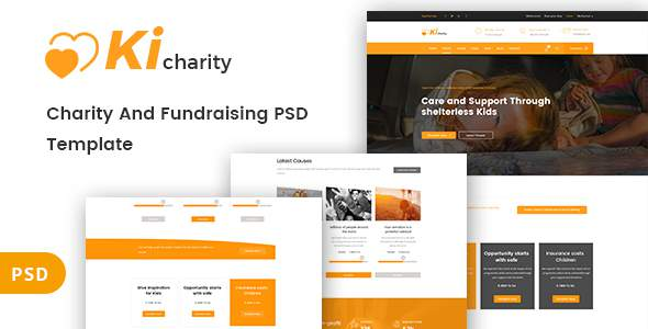 Kicharity - Charity and  Fundraising PSD Template            TFx Thad Bryn