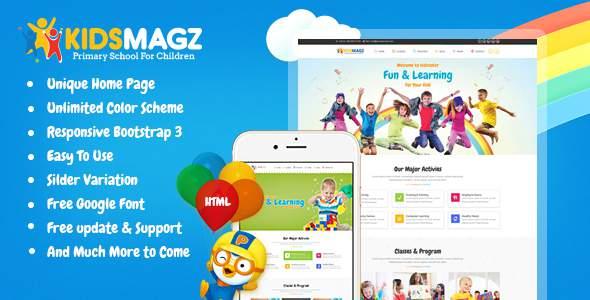 KidsMagz - Children & kids Education Bootstrap Template            TFx Robby Logan