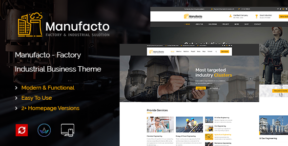 Manufacto Factory & Industrial WordPress Theme            TFx Buana Tom