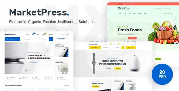 MarketPress - Multipurpose E-commerce &  Multivendor PSD Template            TFx Bobby Zed