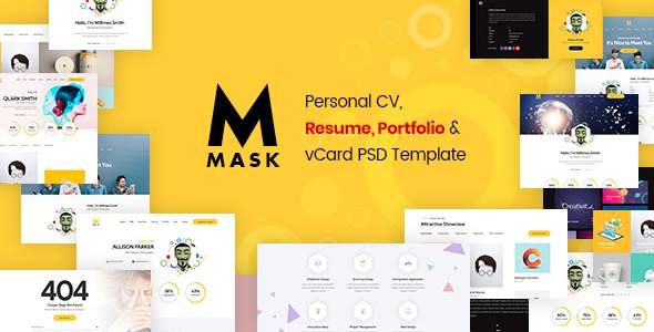 Mask - Personal CV, Resume, Portfolio & vCard PSD Template            TFx Raynard September