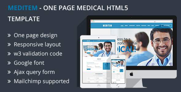 Meditem - One Page Medical HTML5 Template            TFx Pierce Meade