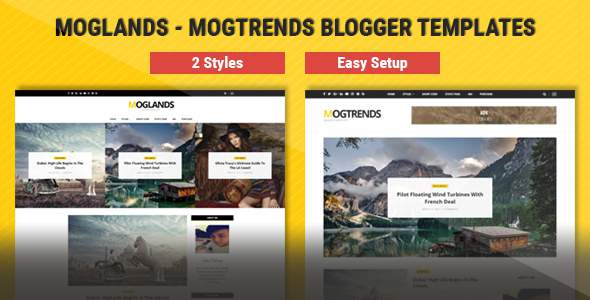 Mogtemplates – MogLands Template For Blogger – 2 Styles            TFx Mordikai Happy