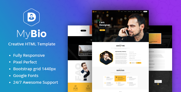 MyBio - One Page Personal Portfolio HTML Template with Blog pages            TFx Silas Fulton