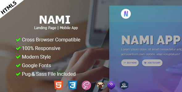 Nami App | Landing page            TFx Dudley Akira