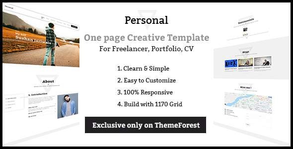 Personal - One page Freelancer, Portfolio, CV Creative Template            TFx Adam Noel