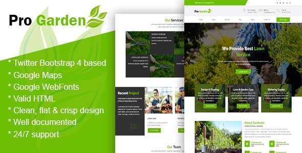 Pro Garden - Gardening, Lawn & Landscaping HTML Template            TFx Fraser Egbert