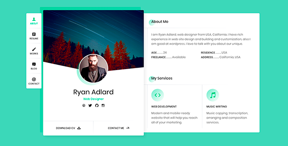 Ryan - vCard / Resume / CV Template            TFx Gale Christian
