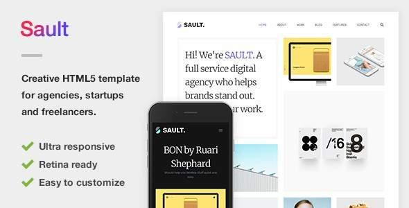 Sault – Creative Portfolio HTML5 Template for Agencies, Startups & Freelancers            TFx Guntur Gabby