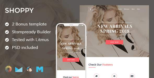 Shoppy 3 Ecommerce Email Template + Stampready Builder + Mailchimp + Mailste            TFx Asuka Joyce