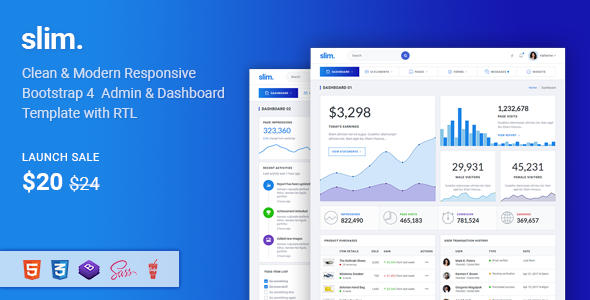Slim - Modern & Clean Responsive Bootstrap 4 Admin Dashboard Template            TFx Ed Spike